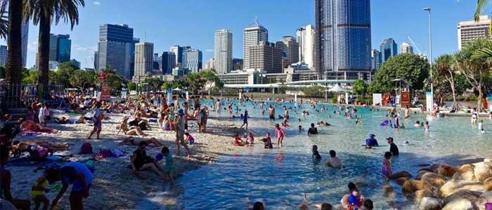 South Bank Parklands, la playa artificial de Brisbane