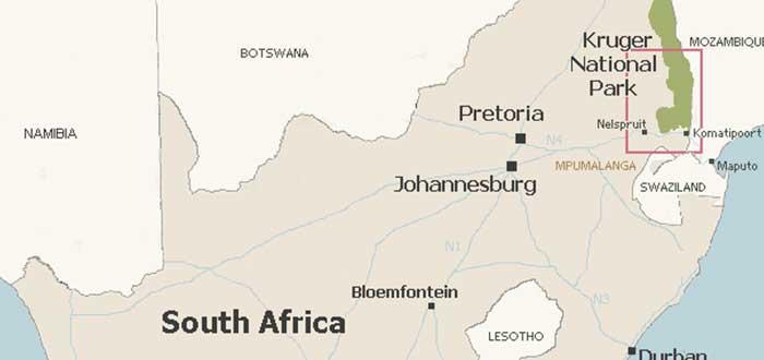 Parque nacional Kruger, mapa